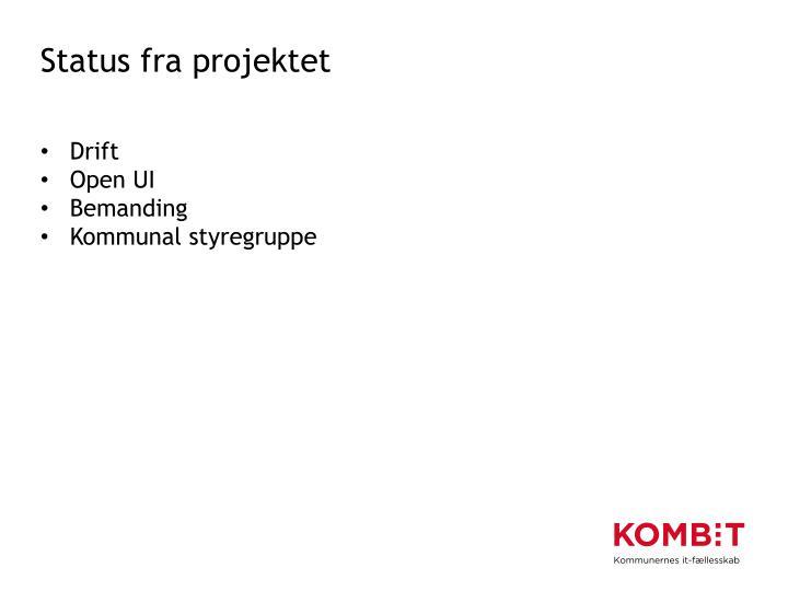 Status fra projektet