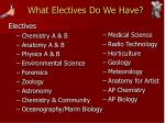 what electives do we have