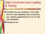 data conversion and loading testing