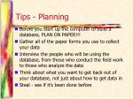 tips planning