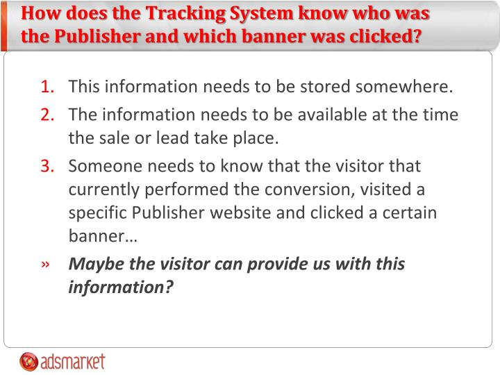 How does the Tracking System know who was the Publisher and which banner was clicked?