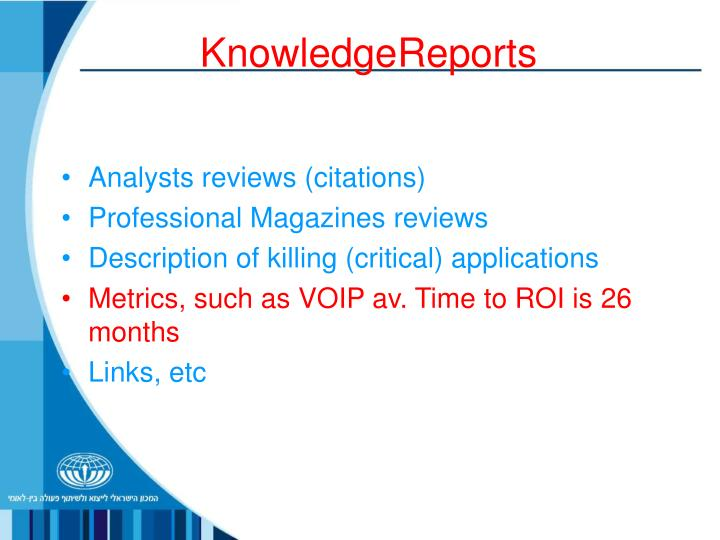 KnowledgeReports