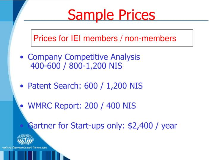 Sample Prices