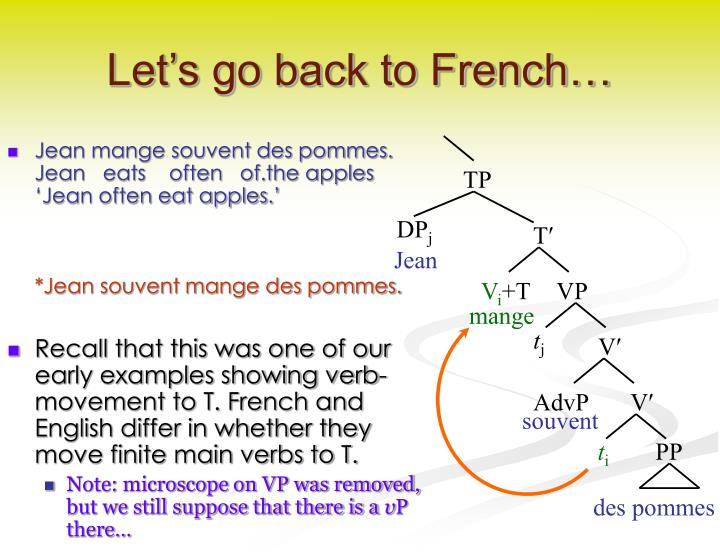 Let's go back to French…