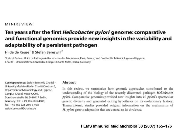 FEMS Immunol Med Microbiol 50 (2007) 165–176