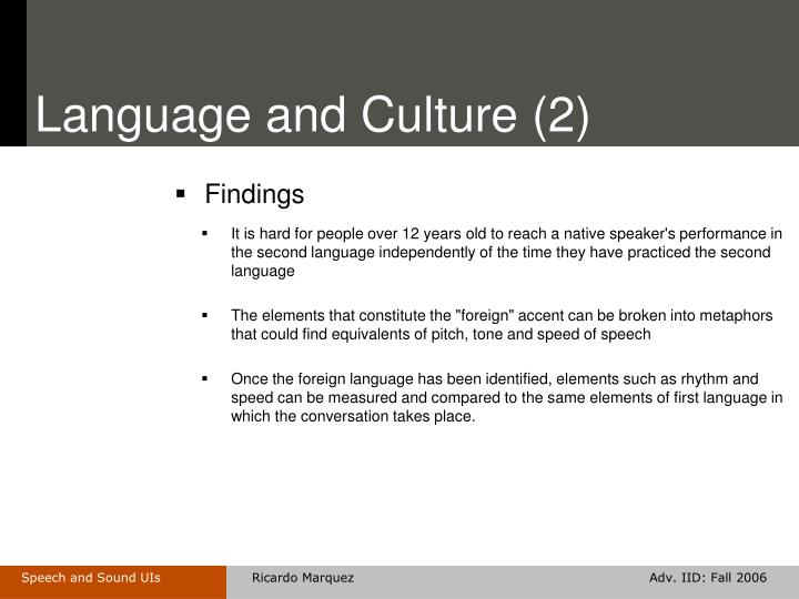 Language and Culture (2)