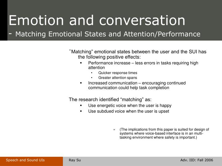 Emotion and conversation