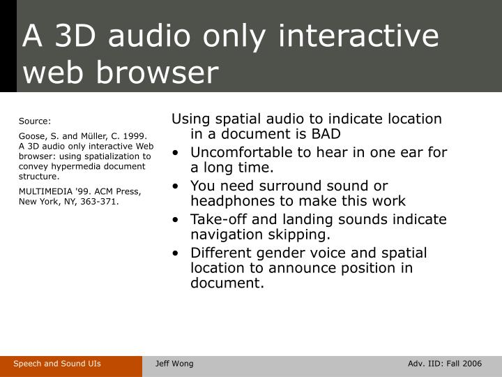 A 3D audio only interactive web browser
