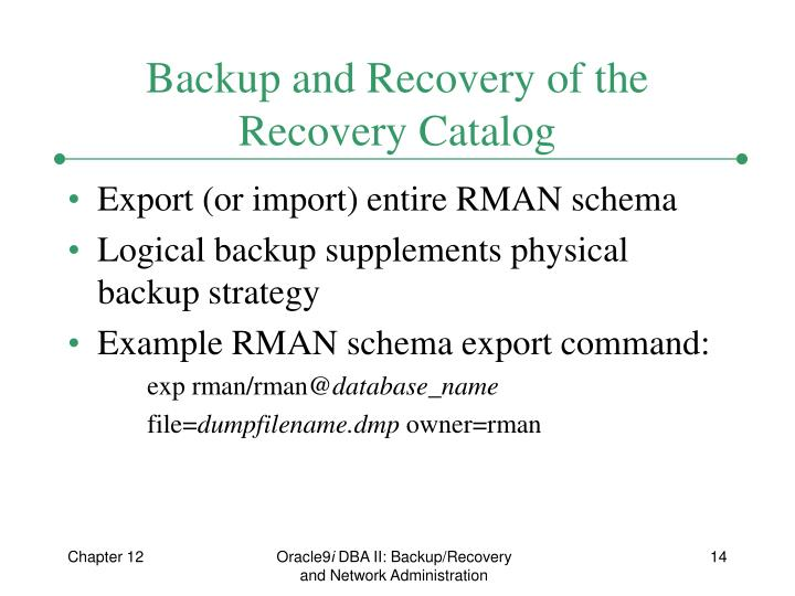 Backup and Recovery of the Recovery Catalog