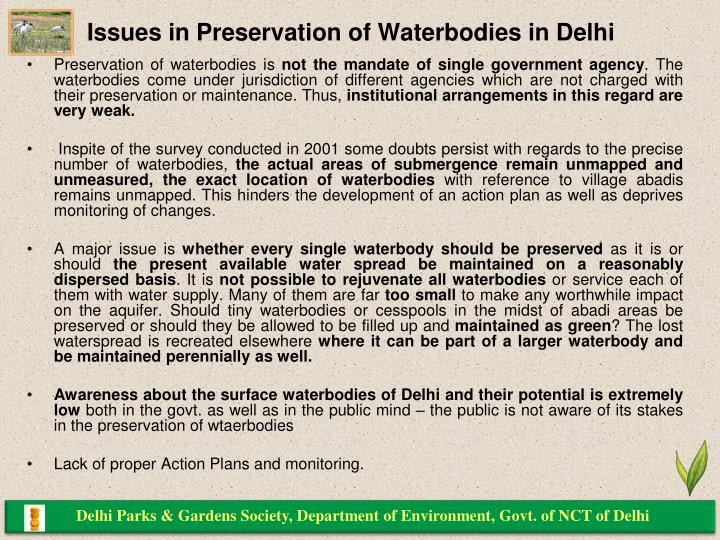 Issues in Preservation of Waterbodies in Delhi