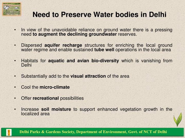 Need to Preserve Water bodies in Delhi