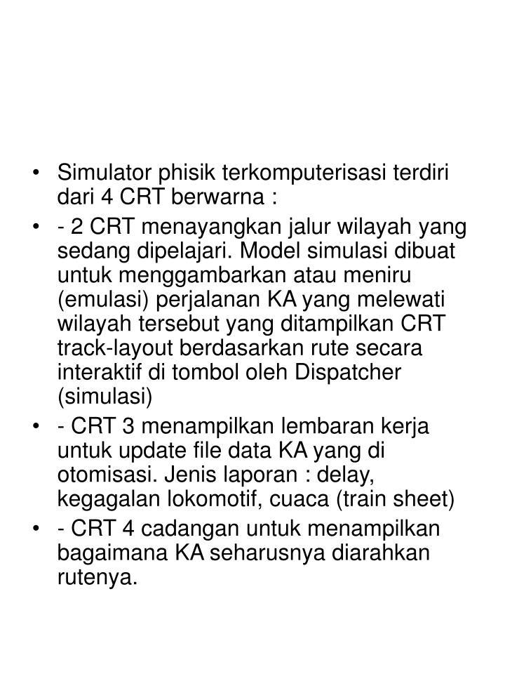 Simulator phisik terkomputerisasi terdiri dari 4 CRT berwarna :