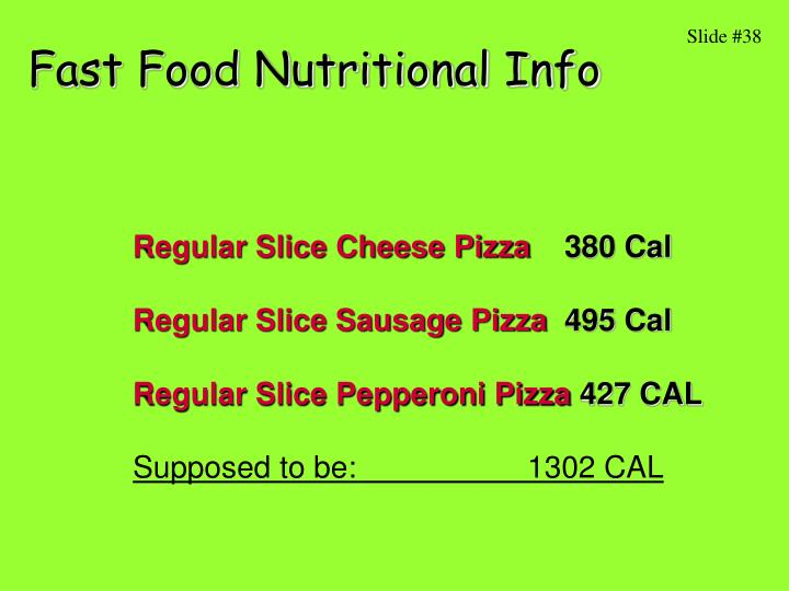 Fast Food Nutritional Info
