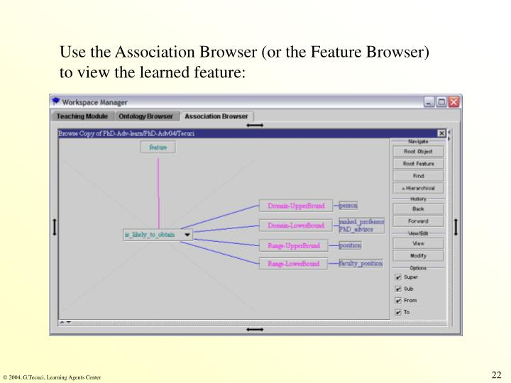 Use the Association Browser (or the Feature Browser) to view the learned feature: