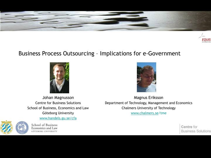 Business process outsourcing implications for e government