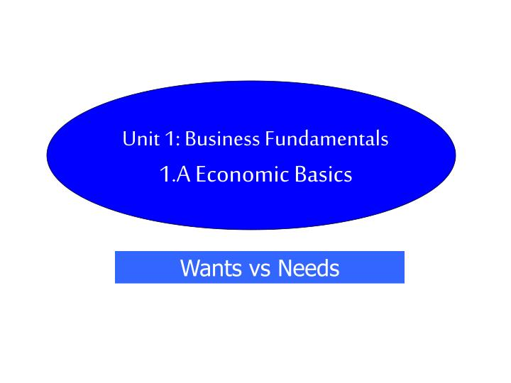 unit 1 business fundamentals 1 a economic basics n.