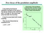 free decay of the pendulum amplitude