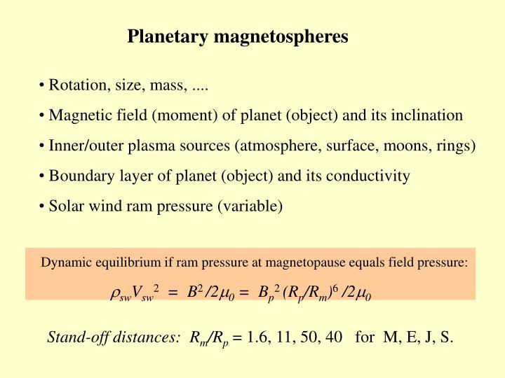 Planetary magnetospheres