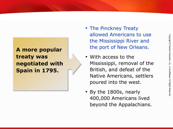 The Pinckney Treaty allowed Americans to use the Mississippi River and the port of New Orleans.