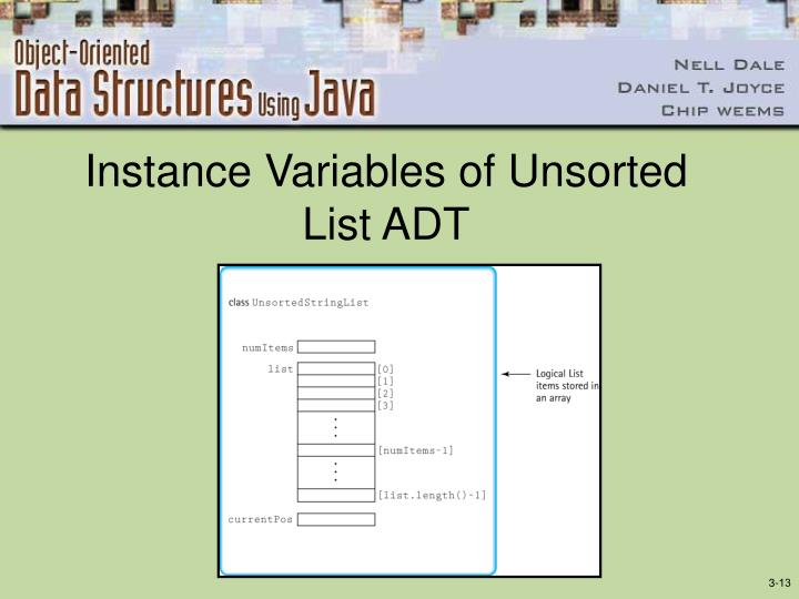 Instance Variables of Unsorted List ADT