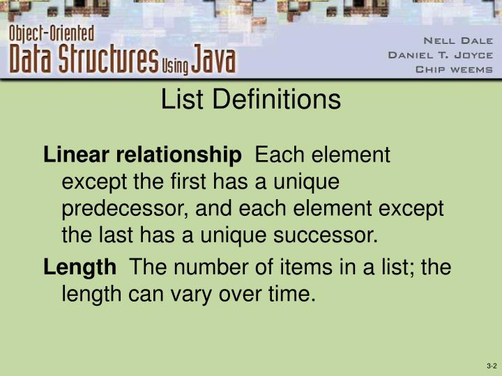 List definitions