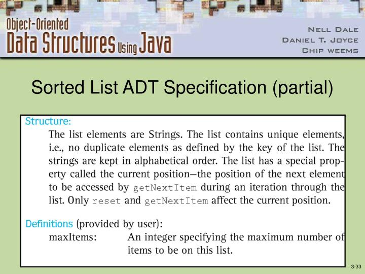 Sorted List ADT Specification (partial)