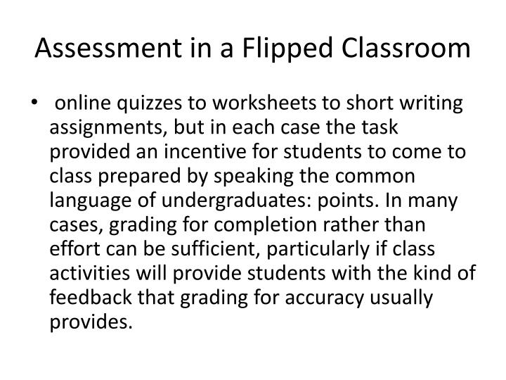 Assessment in a Flipped Classroom