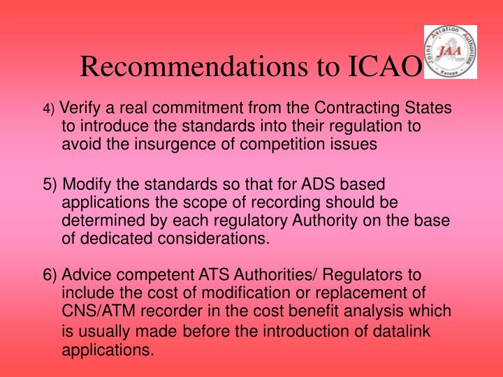 Recommendations to ICAO