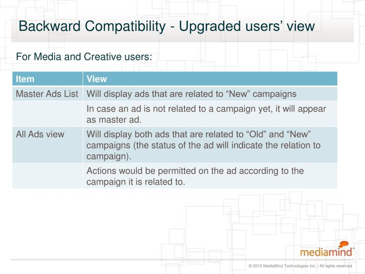 Backward Compatibility - Upgraded users' view