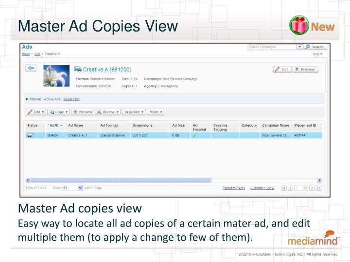Master Ad Copies View