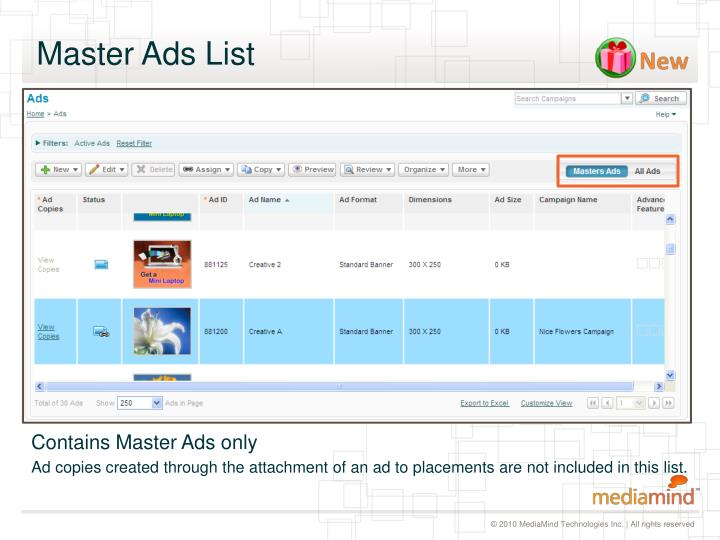 Master Ads List