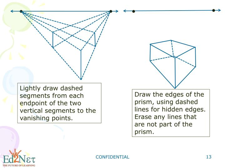 Lightly draw dashed segments from each endpoint of the two vertical segments to the vanishing points.