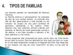 4 tipos de familias