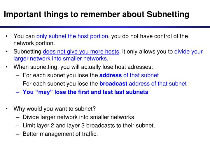 Important things to remember about Subnetting
