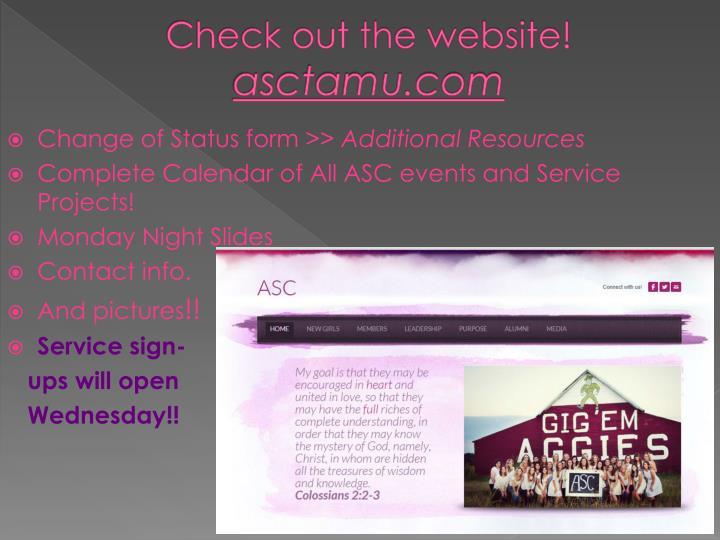 Check out the website a sctamu com