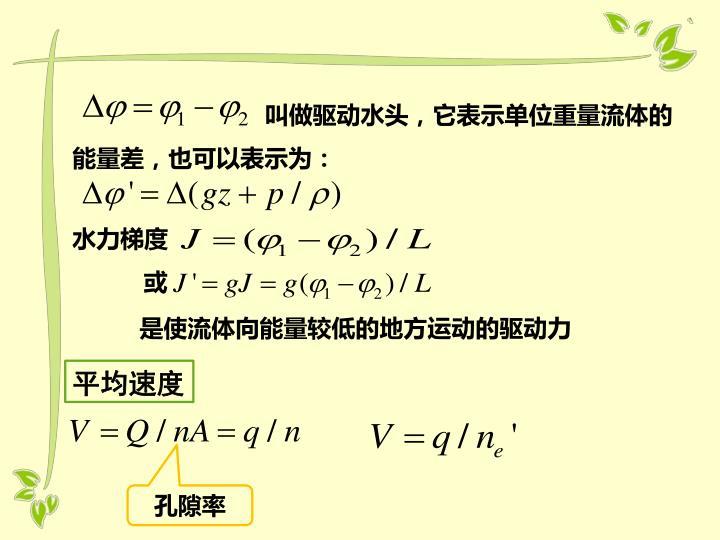 叫做驱动水头,它表示单位重量流体的能量差,也可以表示为: