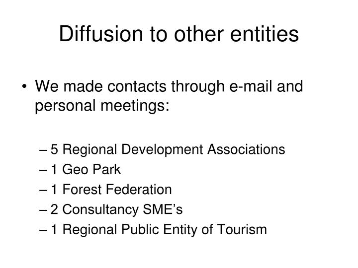 Diffusion to other entities