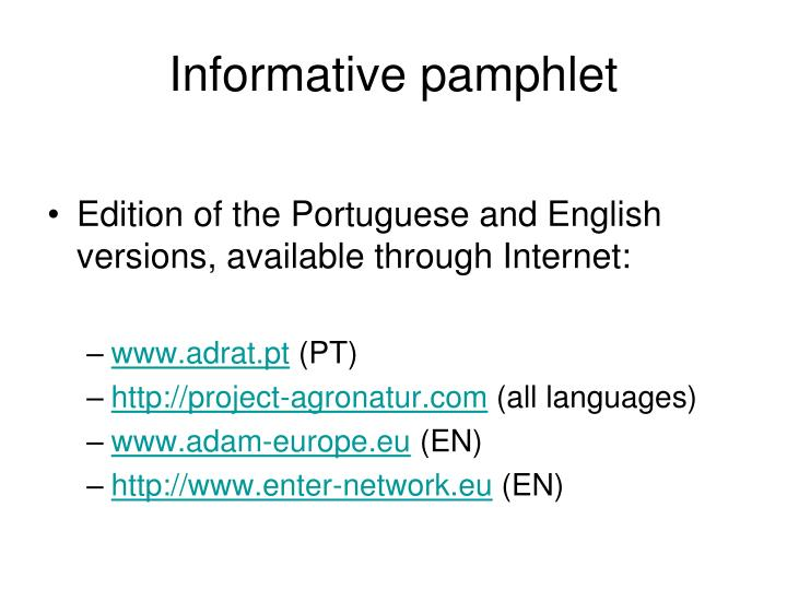 Informative pamphlet