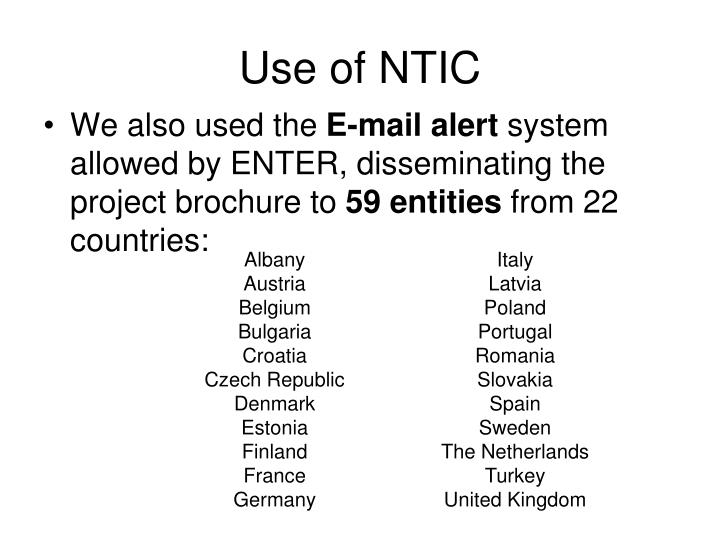 Use of NTIC