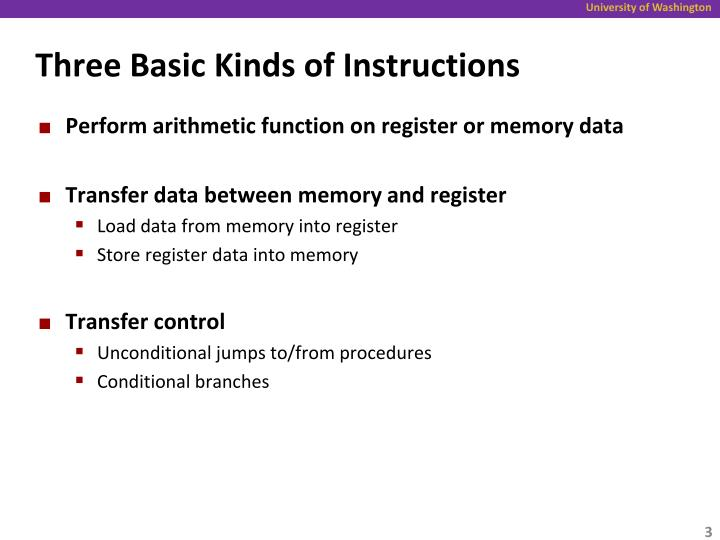 Three basic kinds of instructions