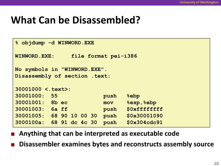 What Can be Disassembled?