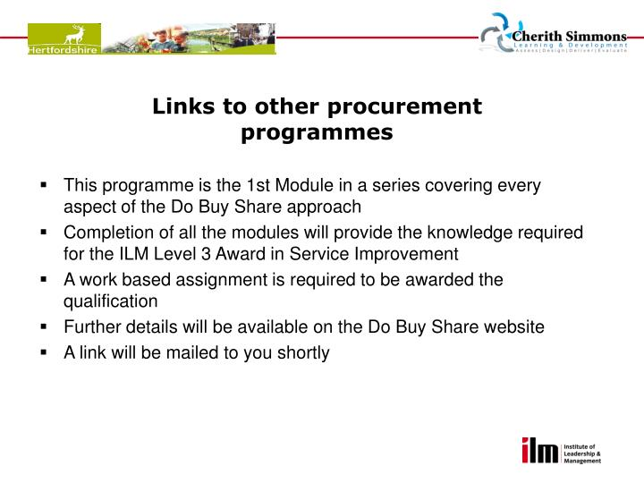 Links to other procurement programmes