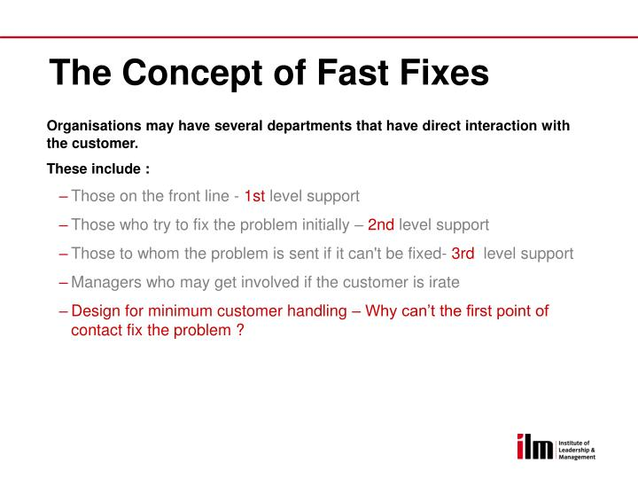 The Concept of Fast Fixes