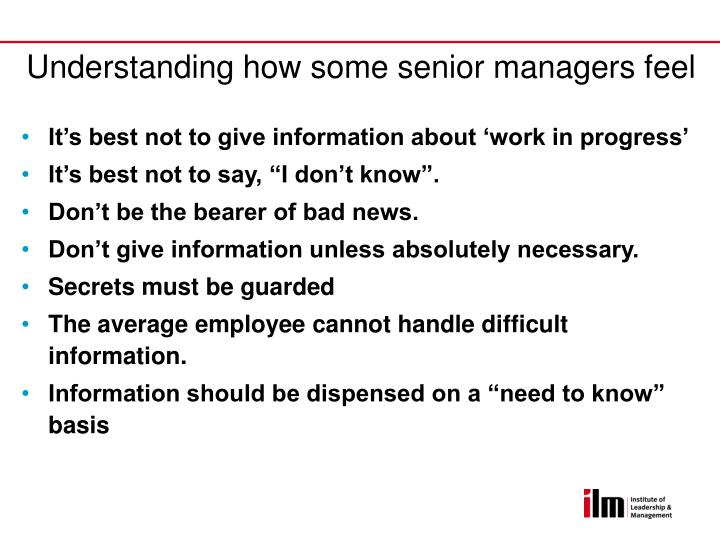 Understanding how some senior managers feel