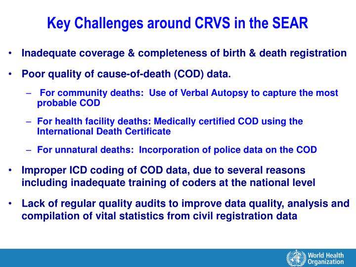 Key Challenges around CRVS in the SEAR