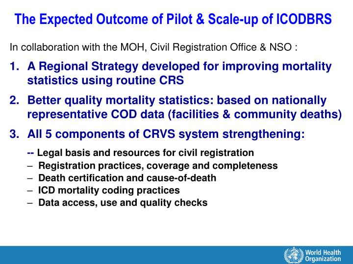 The Expected Outcome of Pilot & Scale-up of ICODBRS