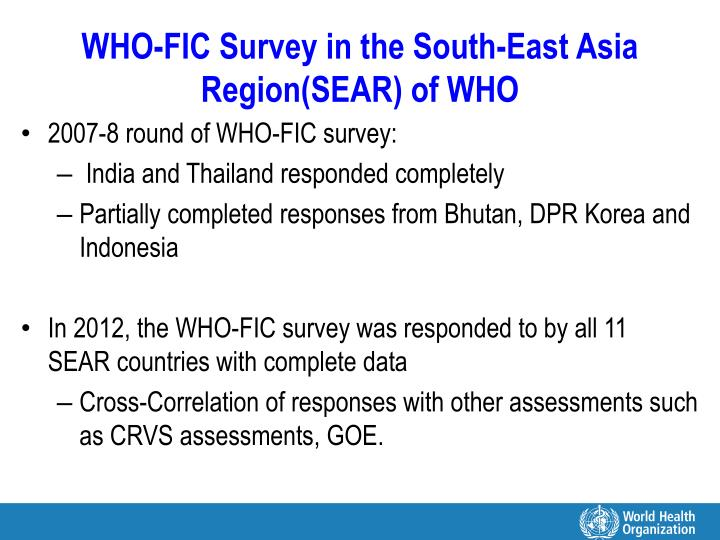 Who fic survey in the south east asia region sear of who