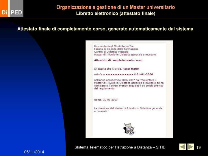 Organizzazione e gestione di un Master universitario