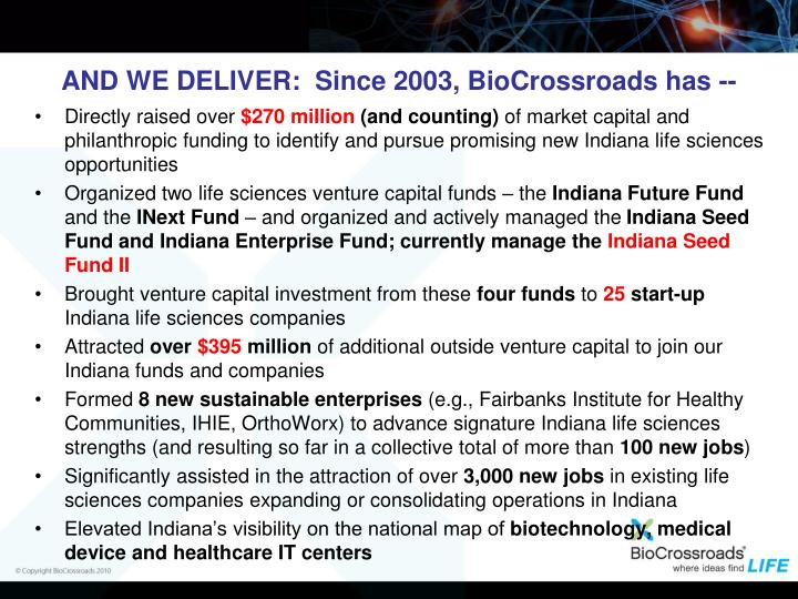 AND WE DELIVER:  Since 2003, BioCrossroads has --