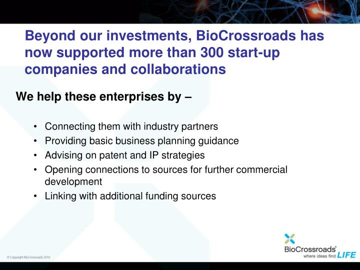 Beyond our investments, BioCrossroads has now supported more than 300 start-up companies and collaborations